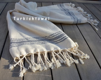 Turkishtowel-Soft-Hand woven,warp&weft cotton Hand,Tea,DishTowel-Herrigbone pattern,Grey stripes on Natural Cream