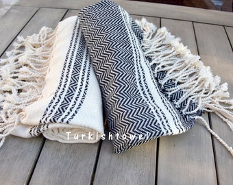 Turkishtowel-Soft-Set of 2-Hand woven,warp&weft cotton Hand,Tea,DishTowel-Herrigbone pattern,Black and Natural Cream