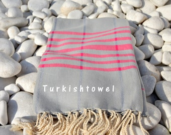 Turkishtowel-Soft-Hand woven,warp&weft cotton Bath,Beach,Travel Towel-Point twill pattern,Fuchsia stripes on Grey