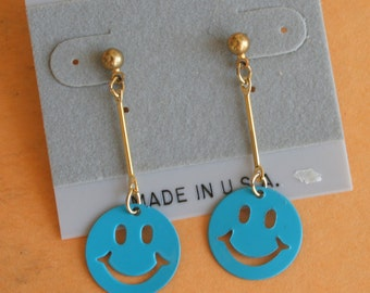 1980s HAPPINESS PEACE Earrings...earrings. retro. kitsch. glam earrings. indie. urban. aztec. metal. dangly. pierced ears. 1980s glam. folk