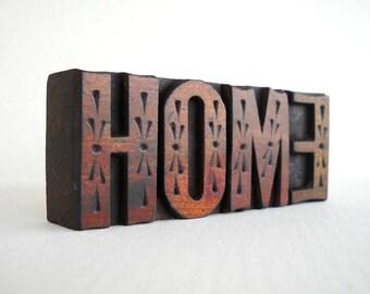 HOME - 4 Vintage Designer Letterpress Wood Type Blocks Collection - LP42