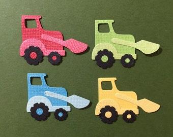4 Mini Tractor Digger Embellishment Die Cuts Scrapbooking Assembled Paper Truck