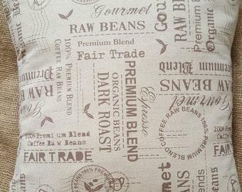 """Fair Trade Coffee Bean Print Cotton Fabric Cushion Cover 16"""" x 16"""""""