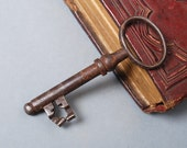 Antique metal skeleton key, old, big size, home decor original rustic patina