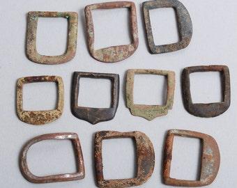 Set of 10 Antique primitive brass parts of belt buckles, findings, frame, connector