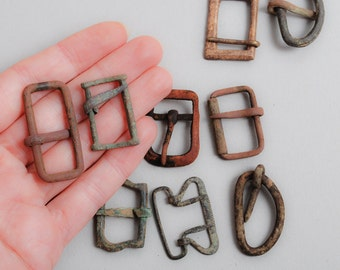 Set of 10 Antique primitive brass belt buckles, findings, frame, connector