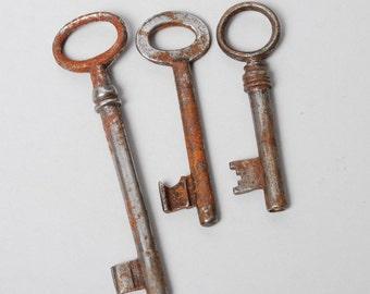 Set of  3 Vintage steel skeleton keys. Rustic patina