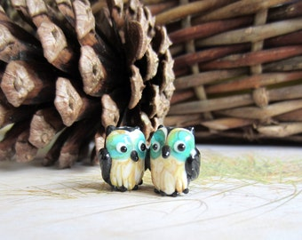 Two Little Owl Beads-Matched Pairs-Lampwork Beads-Destash