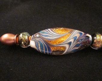 Encased Lampwork, Beaded, Ballpoint Pen, Artisan Crafted, One of a Kind, SRAJD, Hand Crafted Glass, Refillable Ink,  Metallic Copper Pen