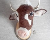 needle felted cow mount style fake taxidermy by felt factory -READY TO SHIP