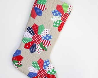 Christmas Stocking - Hand Appliqued Quilted Christmas Stocking - Dresden Plate Applique on Essex Linen - Personalized Christmas Stocking