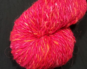 Alpaca, Merino and Silk yarn - hand dyed, hand spun in Red with Orange and Pink Highlights