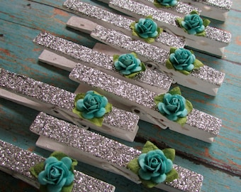 Paper Flower Silver Glitter Clothespins, Shabby Style, Cottage Chic, Teal Paper Flowers, Decorative Accents, Photo Clips, Photo Clothespins