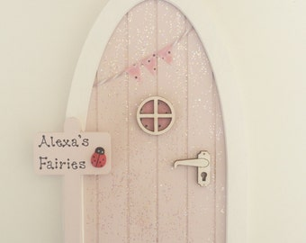 Personalised Fairy Door - Blush Pink & Glitter with Bunting and Personalised Signpost, Imaginative Play, Gift for Girls,
