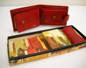 Vintage Crown Zellerbach Mens Wallet And Key Holder Boxed Set Red