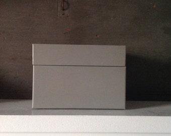 Vintage Industrial Gray Metal Box