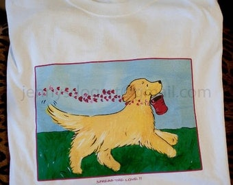 Golden Retriever Spread the Love T shirt SALE