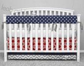 Bumperless Crib Bedding - Crib Skirt, Teething Crib Rail Cover - Navy, Red, Gray - Reagan, Liam, Connor - TS3