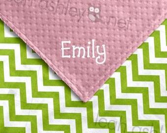 Baby Blanket - Lime Green Chevron MINKY Dot, Pink MINKY Dot - Sadie - BB1