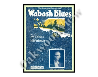 Wabash Blues Sheet Music by Dave Ringle & Fred Meinken, Indiana, Antique 9x12 1921 Paper Ephemera, FREE SHIPPING