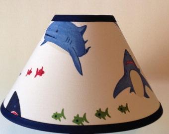 Shark Bite Fabric Children's Lamp Shade/Shark Lampshade/Kid's Shark Lamp Shade