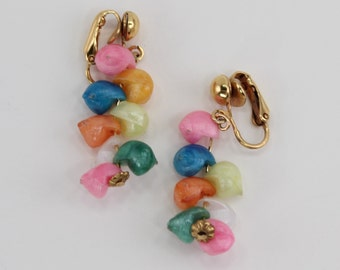 Vintage Goldtone Genuine Shell Ivory Off White Bright Pink Orange Yellow Turquoise Blue Gold Tone Dangle Drop Clip On Cluster Earrings