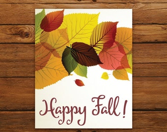 Fall Leaves Wall Art - Happy Fall! Typography Thanksgiving Home Decor - Autumn Decoration