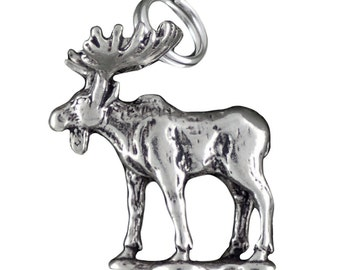 Moose Charm Pendant 925 Sterling Silver 3d
