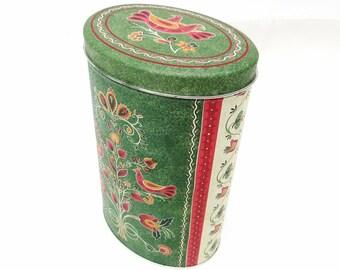 Vintage Oval Tin   Tall Tin Container   Pennsylvania Dutch Decor   Cookie Tin   Folk Art Decor