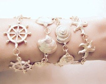 Shell Bracelet, Seashell, Sea Shell, Gold Shell, Beach Bracelet, Ocean Bracelet, Beach Fashion, Mermaid, Nautical