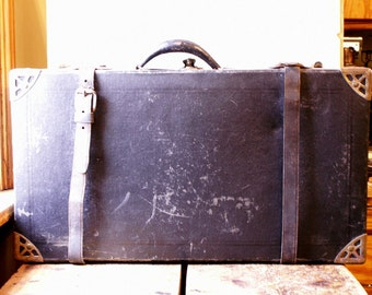Vintage Black Hardboard Suitcase with Leather Straps and Brass Corners