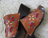 70's Hand Tooled Leather and Wood Platform Clogs Hippie Bobo  7.5/8