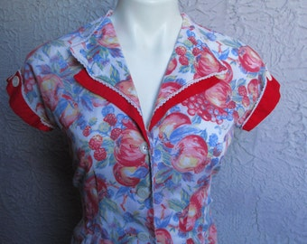 70s Vintage Sweet Baby Jane Hippie Mama Top Rare med. Fruit Print