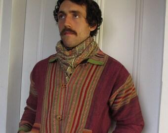 Vintage Men's Hand Woven Rainbow Wool  Ethnic Jacket med.