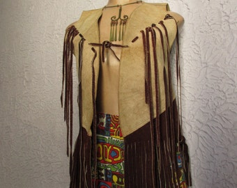 60's Vintage Hippie Leather Fringe Vest Rocker Biker sm/med