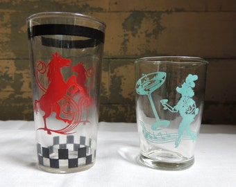 Vintage Swanky Swig Glasses – Set of 2 / RARE Hazel Atlas Horse Glass / Dancing Poodle Martini Shot Glass / Vintage Juice Glass