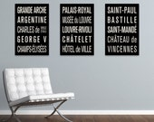 PARIS METRO Subway Sign Prints. Bus Scrolls (Collection of 3)