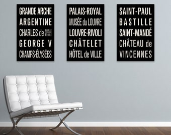 PARIS METRO Subway Sign Prints. Bus Scrolls (Collection of 3)
