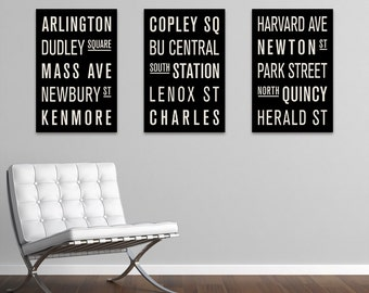 BOSTON Collection of 3 Subway Sign Prints. Bus Scrolls.
