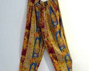 ON SALE Vintage pure silk boho Indan floral pattern pants, drawstring waist