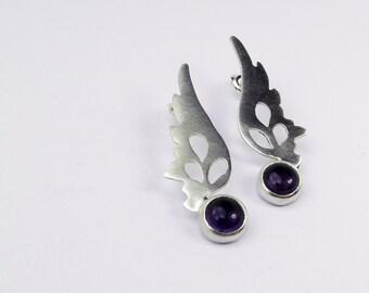 Hermes Wings Earrings with amethyst
