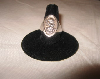 Vintage Egyptian Revival  Pharaoh Sterling Silver Ring. Size 7