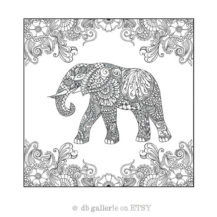 Mehndi Elephant Coloring Pages : Henna elephant in garden print adult coloring poster