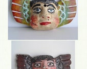 2 FOLK ART Mexican Wood Angel Angels Head Face With Wings