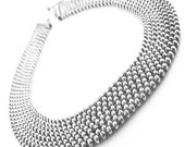 Sterling Silver Necklace Italy 925 Vintage Necklace ball bead chain multi strand