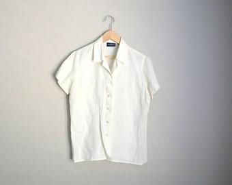 Vintage 90s Ivory Linen Short Sleeve Button Down Blouse Top Shirt // womens medium