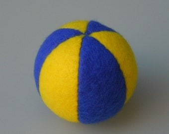Catnip Ball Cat Toy Yellow and Royal Blue Fleece