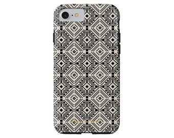 TILES black and white geo tile print iPhone 7/7 Plus, iPhone 6/6s, iPhone 6/6s Plus, iPhone 5/5S case, Samsung Galaxy S6
