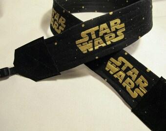 Star Wars Metallic Gold on Black Camera Strap