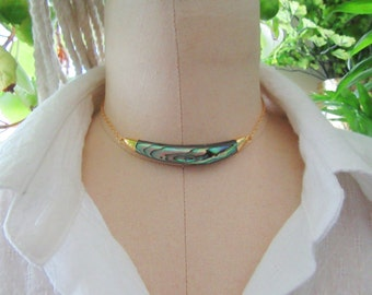 Abalone Shell Necklace // Paua Shell // Beach Summer Jewelry// Boho Fashion
